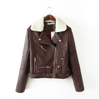 Brown Faux Leather Zippered Jacket With Removable Fur