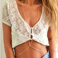 Fashion Sexy Tassels Cross Body Link Belly Waist Necklace Chain Slave Harness