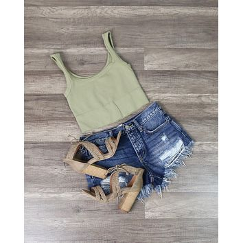 Ribbed Square Neck Crop Top in More Colors