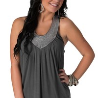 Rock & Roll Cowgirl Women's Grey with Sequins T-Back Tank