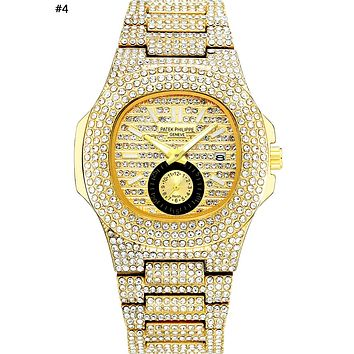 Patek Philippe 2019 new personality men and women models full of diamonds high-grade quartz watch #4