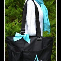 Boys Super Feature Tote - Initial and Name Monogrammed Diaper Bag - Personalized Large Size Solid Color Baby Shower Gift Idea