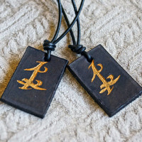 CHRISTMAS SALE! Parabatai Runes Pair City of Bones Leather Necklaces The Mortal Instruments Infernal Devices with Personal Engraving on Back