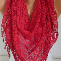 ON SALE - Red Lace Scarf - Shawl Scarf Women Scarves Cowl Scarf Bridesmaid Gift - fatwoman
