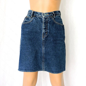 Calvin Klein denim skirt / size 5 / 6 /  80s high wasited jean skirt / short jean skirt / SunnyBohoVintage