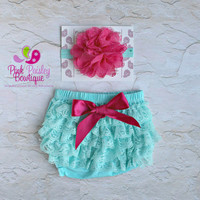 Baby Lace Bloomer Set- Newborn Headband and Bloomers- Newborn Photo Outfit- Lace Ruffle Butt - Cake smash outfit- Ruffle Baby Diaper cover
