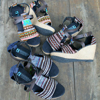 Vegan Womens Sandals In Earthy Ethnic Hmong Embroidery, Faux Leather Straps, Wedge Heel - Leighanna