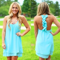 Waves Of The Ocean Dress in Aqua