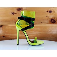 "So Me Zuleyma PCV Yellow 5"" High Heel Ankle Shoes Boots"