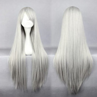 Promotion Hitman Reborn Superbia Squalo 80cm Long Silvery White Straight Cosplay Anime Wig,Colorful Candy Colored synthetic Hair Extension Hair piece 1pcs WIG-001G