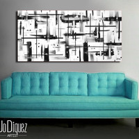 Original abstract painting on canvas. 24x48. Canvas art. Black and white painting. Modern painting. Large painting. Wall art. Contemporary