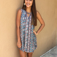 Crazy As Ever Dress - Blue/Multi