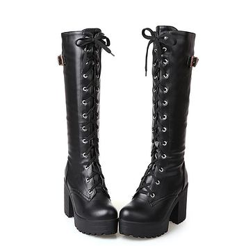 Lacing Knee High Boots Square Heel PU Leather Shoes