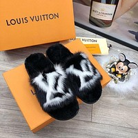 LV Louis Vuitton classic letters mink fur home hotel slippers fur slippers flip flop Shoes Black