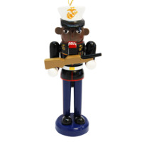 African-American Marine with Rifle Nutcracker Ornament | The Marine Shop