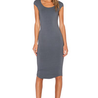 MONROW Permanent Collection Cap Sleeve Dress in Vintage Black