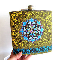 Huge Flask Hand Painted stainless steel flask ENORMOUS For the serious drinker