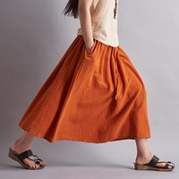 Summer style Solid Cotton Linen Women Long Skirt Brand Casual Loose Skirts Women Mori girl Linen Maxi Skirt Saia Feminina B001