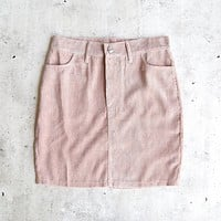 Motel - Broom Corduroy Skirt in Baby Pink
