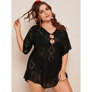 Plus Hollow Out Crochet Cover Up