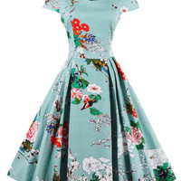 Women's 1950s Cap Sleeve Swing Vintage Floral Party Dresses Green