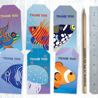 Printable Salt Water Fish Party Favor Tags Medium Fishes Tags Digital Fish Thank You Tags Fishing Party Ocean Favor Tags Fish Tank Thank You