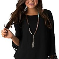 Panhandle Slim Women's Black Chiffon Cross Open Back with Lace Trimmed Long Sleeves Fashion Top