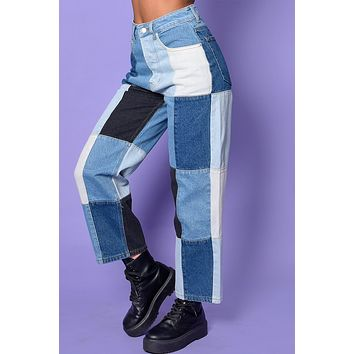 Tell Me Why Straight Leg Patchwork Denim