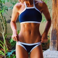 Navy Blue Patchwork Two Piece Sports Bikini Swimsuit for Summer Gift - 04