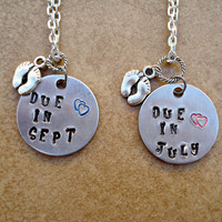 Mommy to Be , Preganancy , Due Date Pendant Necklace - Hand Stamped - Baby Feet - Pink or Blue Hearts