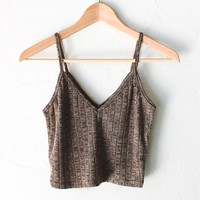 Knit V-neck Cami Crop Top - Taupe