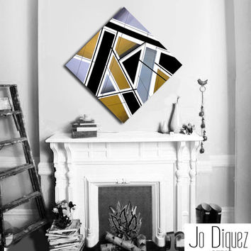 Made to order. Original abstract painting canvas art. 33 3/4x33 3/4. Geometric with silver, gold, black. Big painting. Metallic art.