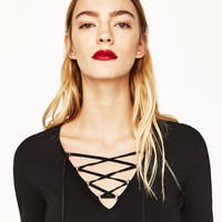 SWEATER WITH CORDS - NEW IN-WOMAN   ZARA United States