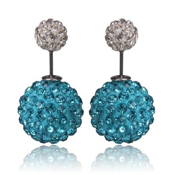 Gum Tee Mise en Style Tribal Earrings - Swarovski Crystal Blue & White