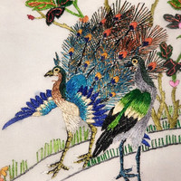 Chinese Embroidered Silk Peacock Wall Hanging Panel Signed Vintage 1960s Chinoiserie Textile Asian Art Home Decor Embroidery Mid Century