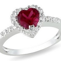 1 1/10 Carat Created Ruby & Diamond Sterling Silver Heart Ring