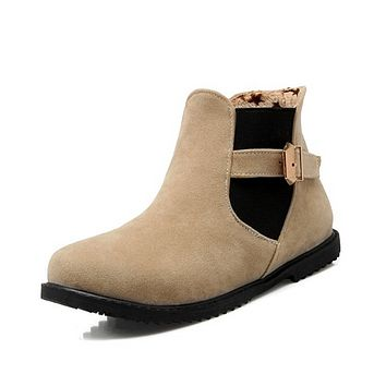 Round Toe Ankle Boots Women Flats Shoes Fall Winter