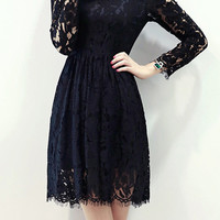 Floral Eyelash Lace Square Neck High Waisted Pleated Mini Dress