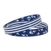Blue And White Anchor Rubber Bracelet 2 Pack