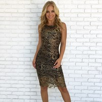 Carpe Diem Crochet Dress in Gold