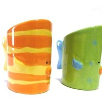 Young's 2-Piece Ceramic Fish Salt and Pepper Set, 3-Inch