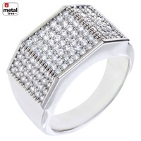 Jewelry Kay style Men's Hip Hop Brass 14k Gold Plated Hand Set CZ Band Flat CUT Square Pinky Rings