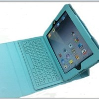 XKTTSUEERCRR Leather Protective Case Bag Cover Protector With Bluetooth Keyboard for the NEW iPad 3 3rd Generation Gen. iPad 2 ipad2 Soft Layer light blue