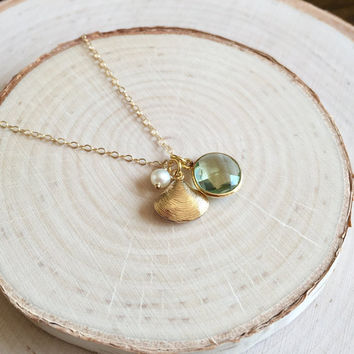 Dainty, Gold Charm Necklace with a Green Amethyst Bezel, Gold Clam Shell and Freshwater Pearl, 14k Gold Filled Chain, Tiny Cluster Necklace
