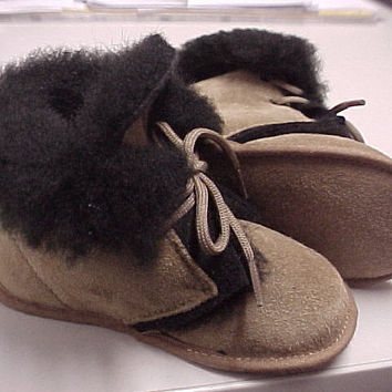 ABA Baby Clark Suede And Sheepskin Infant Size:4 (8-11M) MSRP:$78 Made In Italy