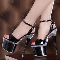 Transparent Ultra High Night Club Pumps Heels and Shoes Sandals