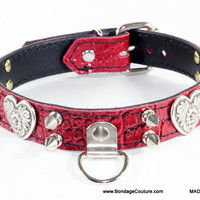 "Bondage Heart Leather Collar - 1"" Red Alligator Embossed Leather Bondage Collar - Leather Bondage Collar - Red Bdsm Collar MADE IN CA mature"