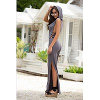 Grey Side Lace-Up w/ Hoodie Jumpsuit