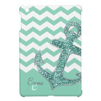 Aqua Glitter Anchor White Chevron Personalized Case For The iPad Mini from Zazzle.com