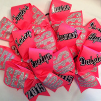 """Senior offset bow 2016, 2017, 2018 etc personalized basic cheer bow 3"""" ribbon with name"""